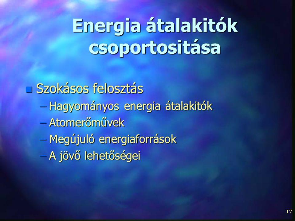 Energia átalakitók csoportositása