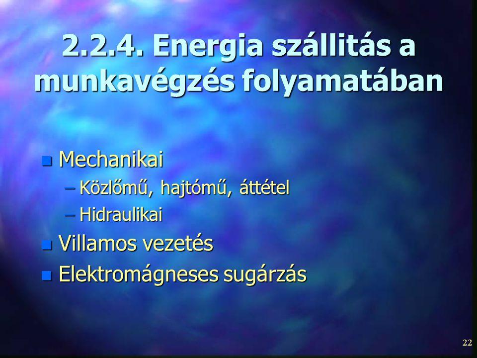 2.2.4. Energia szállitás a munkavégzés folyamatában
