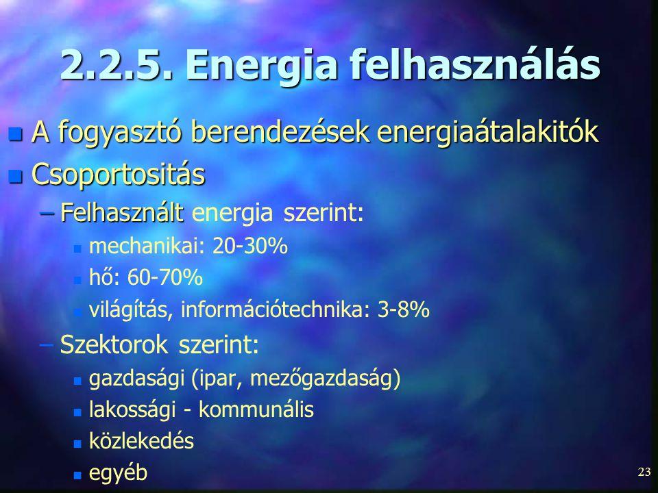 2.2.5. Energia felhasználás A fogyasztó berendezések energiaátalakitók