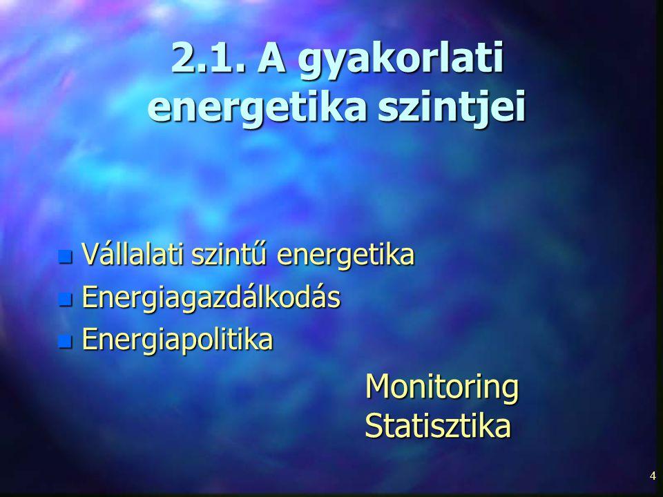 2.1. A gyakorlati energetika szintjei