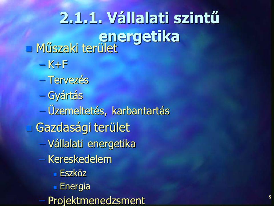 2.1.1. Vállalati szintű energetika