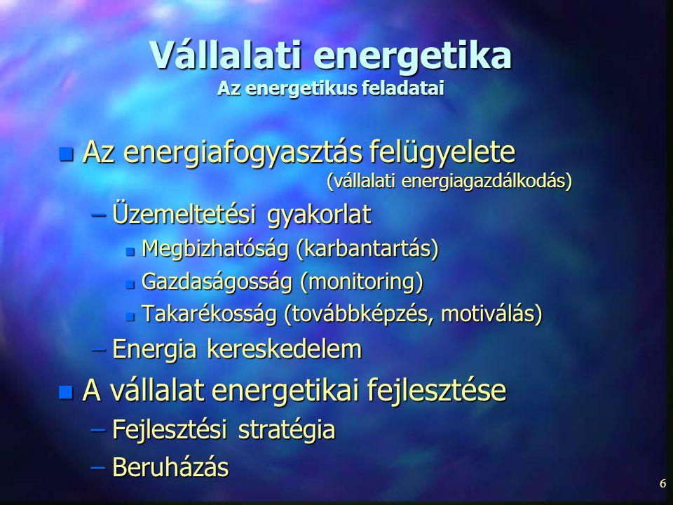 Vállalati energetika Az energetikus feladatai