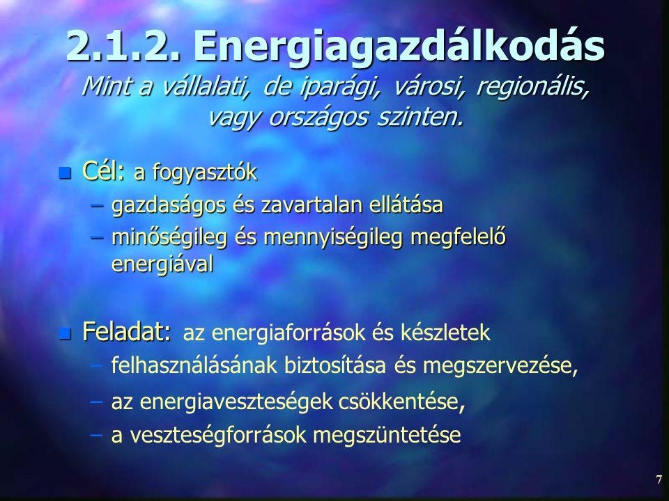 2.1.2. Energiagazdálkodás Mint a vállalati, de iparági, városi, regionális, vagy országos szinten.
