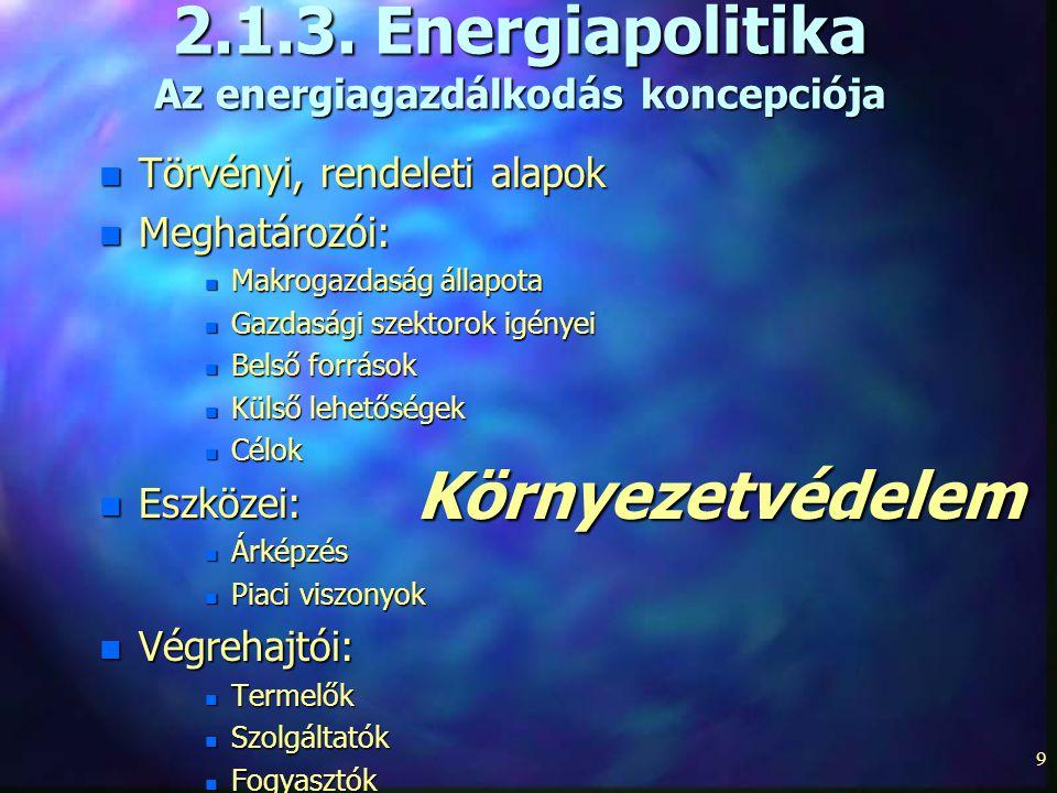 2.1.3. Energiapolitika Az energiagazdálkodás koncepciója