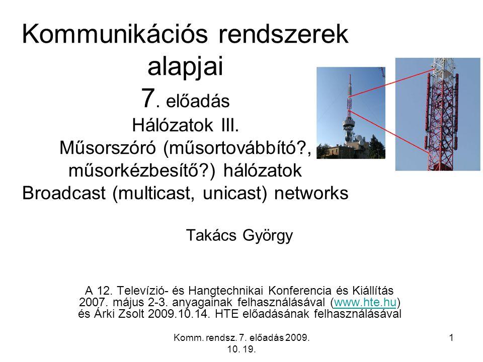 Kommunikációs rendszerek alapjai 7. előadás Hálózatok III