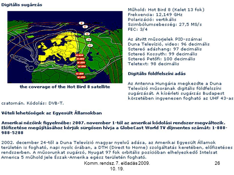 Komm. rendsz. 7. előadás 2009. 10. 19.