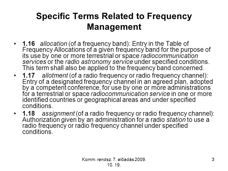 Specific Terms Related to Frequency Management