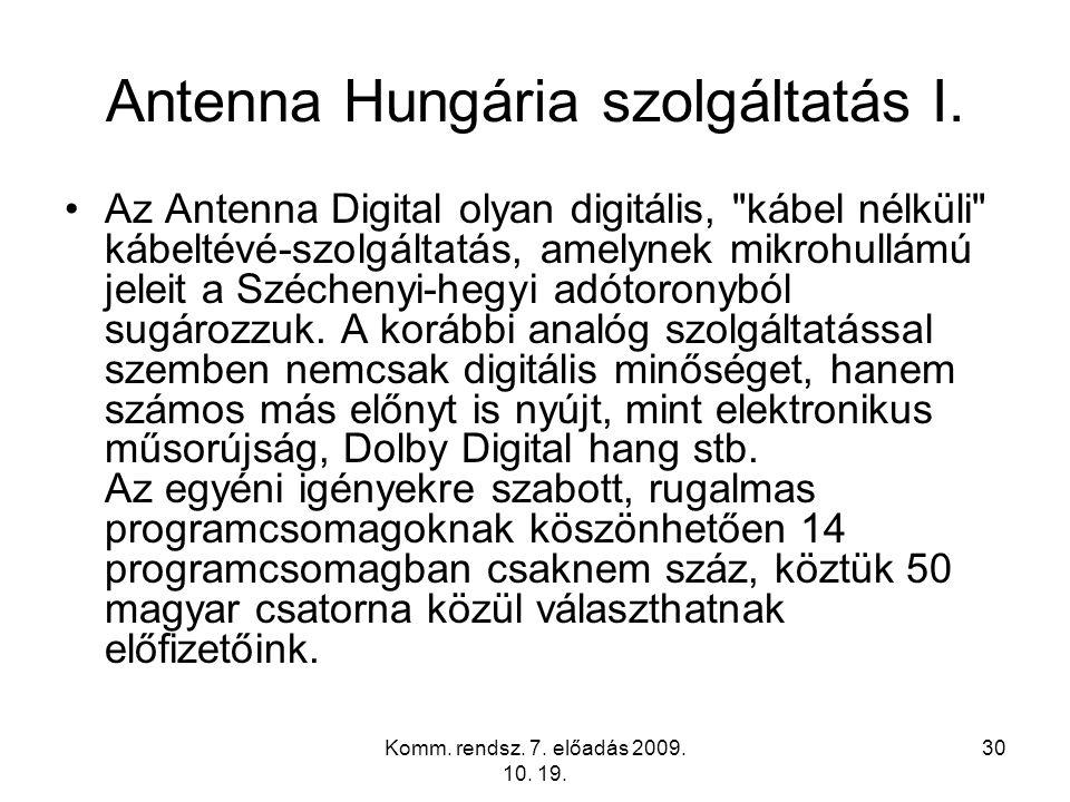 Antenna Hungária szolgáltatás I.