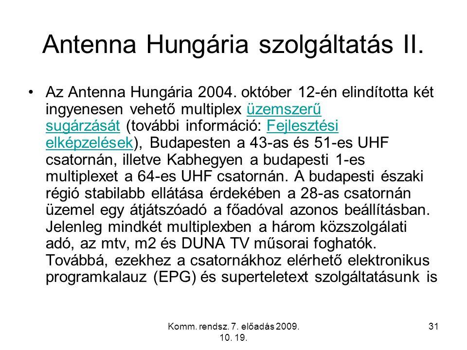 Antenna Hungária szolgáltatás II.