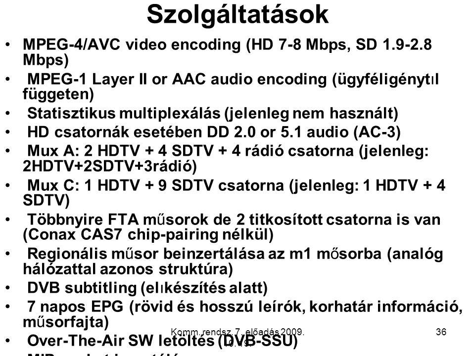 Szolgáltatások MPEG-4/AVC video encoding (HD 7-8 Mbps, SD 1.9-2.8 Mbps) MPEG-1 Layer II or AAC audio encoding (ügyféligénytıl függeten)