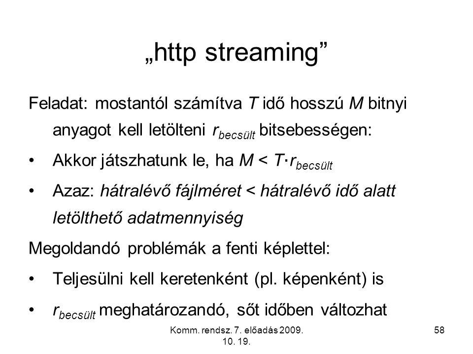 """""""http streaming Feladat: mostantól számítva T idő hosszú M bitnyi anyagot kell letölteni rbecsült bitsebességen:"""