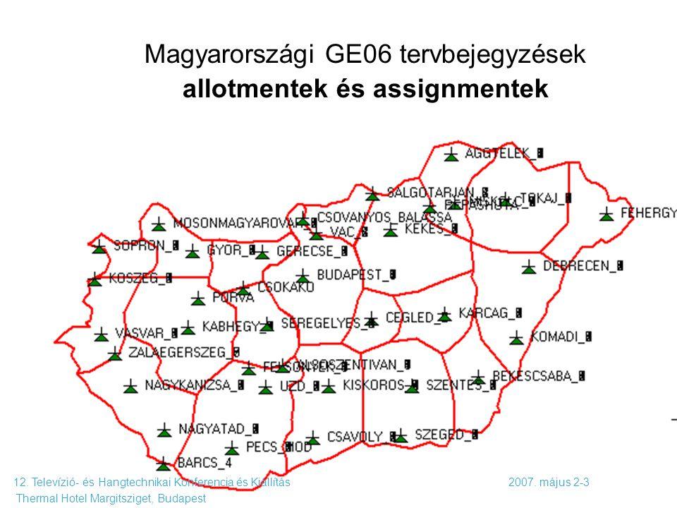 Magyarországi GE06 tervbejegyzések allotmentek és assignmentek