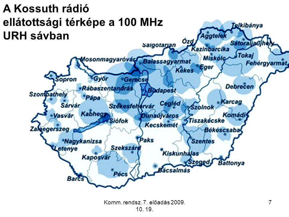 ellátottsági térképe a 100 MHz URH sávban