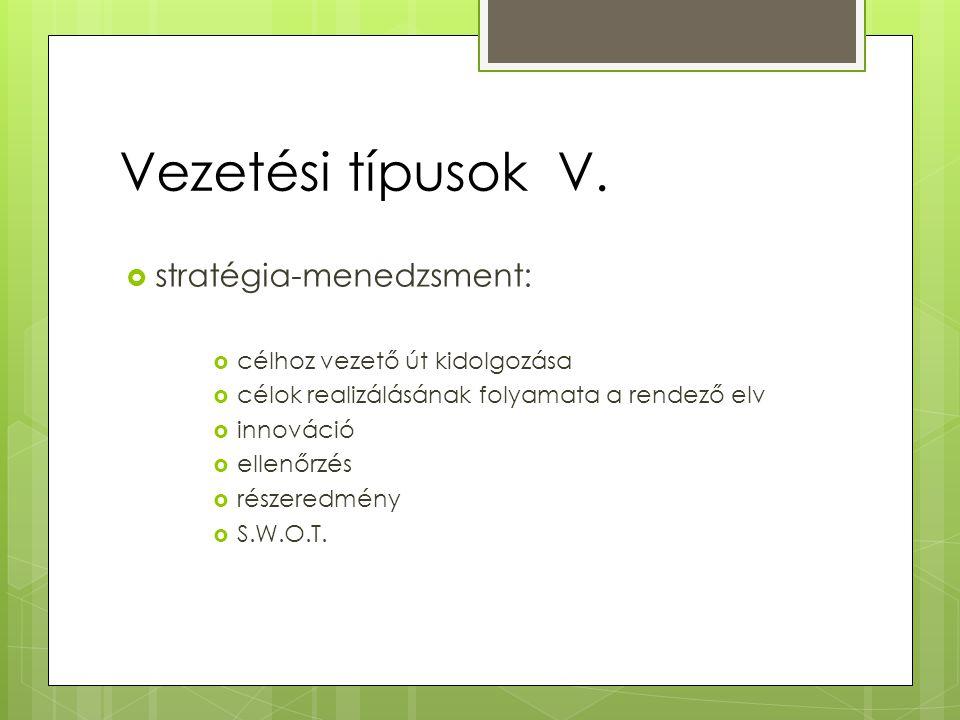 Vezetési típusok V. stratégia-menedzsment: