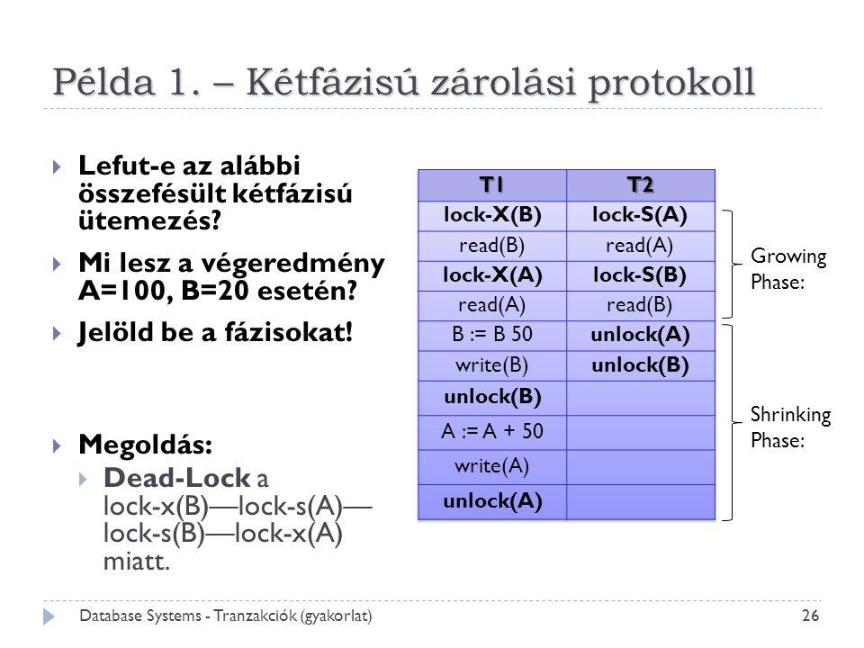 Példa 1. – Kétfázisú zárolási protokoll