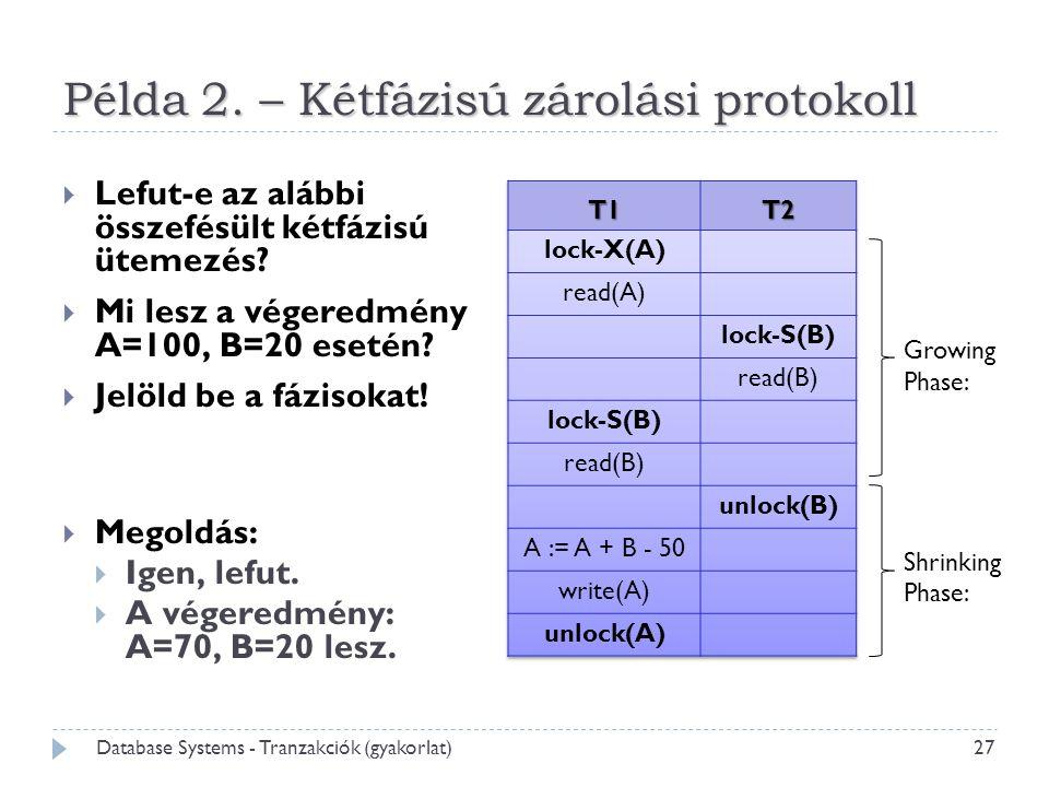 Példa 2. – Kétfázisú zárolási protokoll