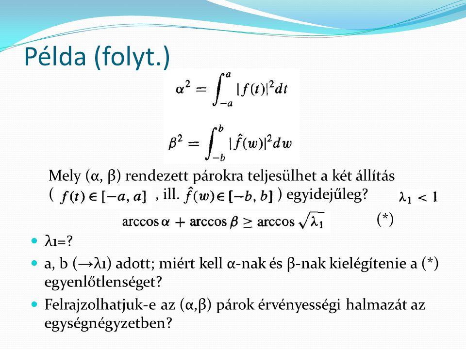 Példa (folyt.) Mely (α, β) rendezett párokra teljesülhet a két állítás ( , ill. ) egyidejűleg