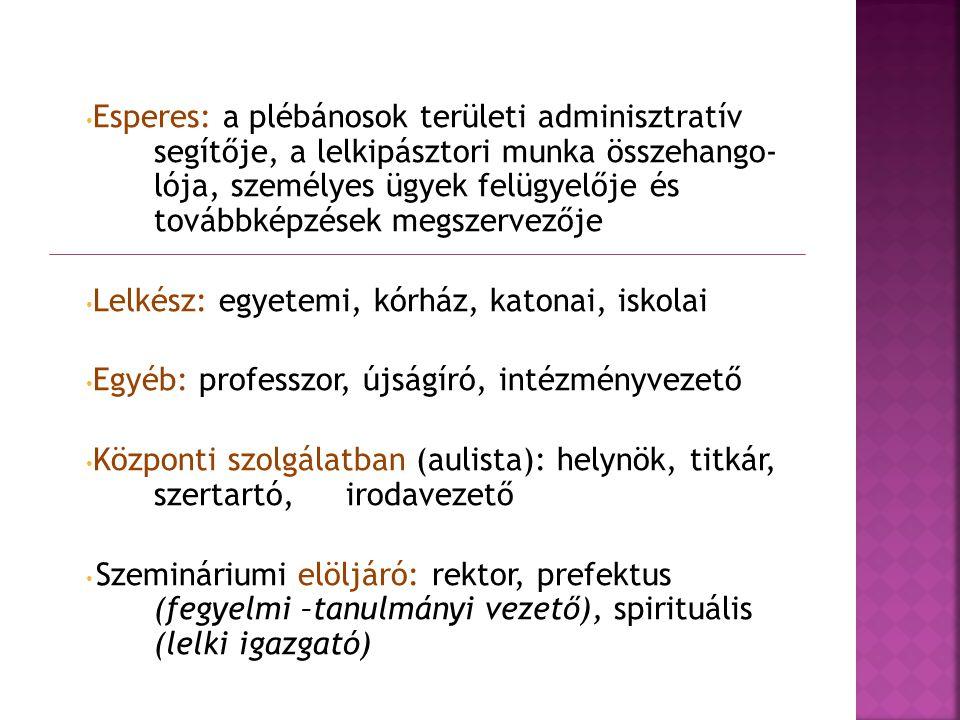 Esperes: a plébánosok területi adminisztratív