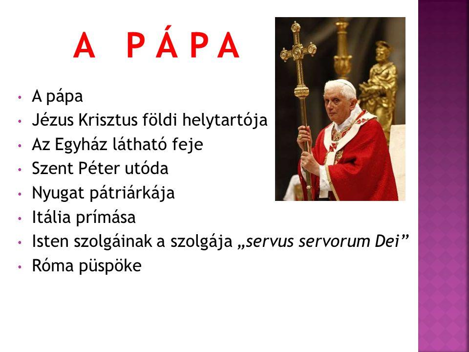 A P Á P A A pápa Jézus Krisztus földi helytartója