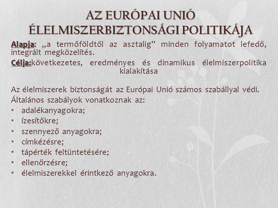 AZ EURÓPAI UNIÓ ÉLELMISZERBIZTONSÁGI POLITIKÁJA