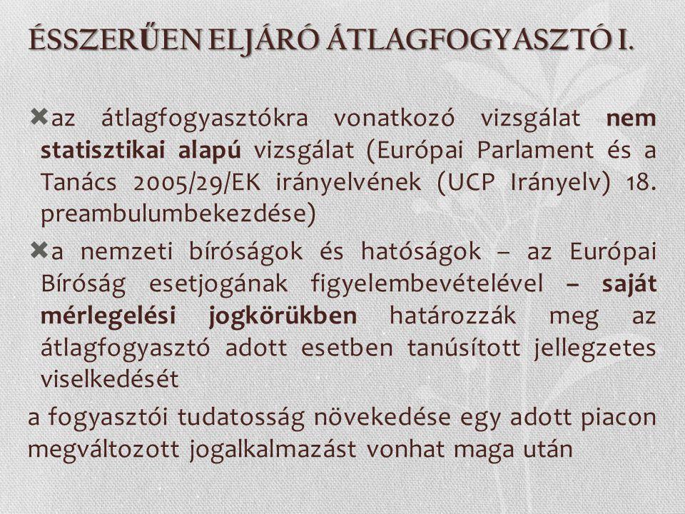 ÉSSZERŰEN ELJÁRÓ ÁTLAGFOGYASZTÓ I.