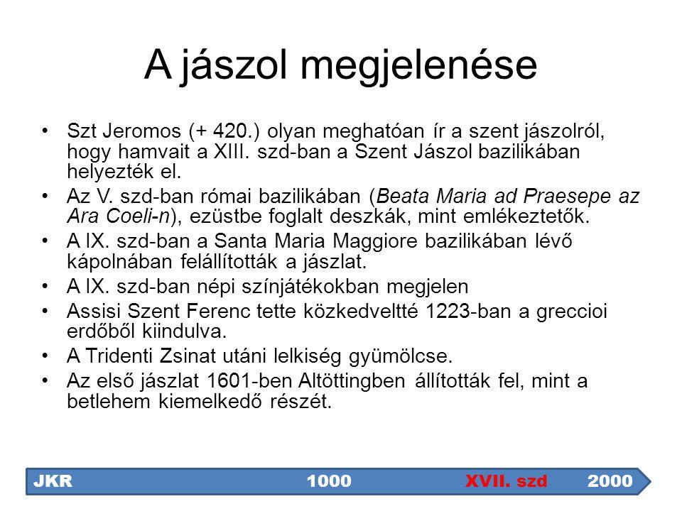 A jászol megjelenése Szt Jeromos (+ 420.) olyan meghatóan ír a szent jászolról, hogy hamvait a XIII. szd-ban a Szent Jászol bazilikában helyezték el.