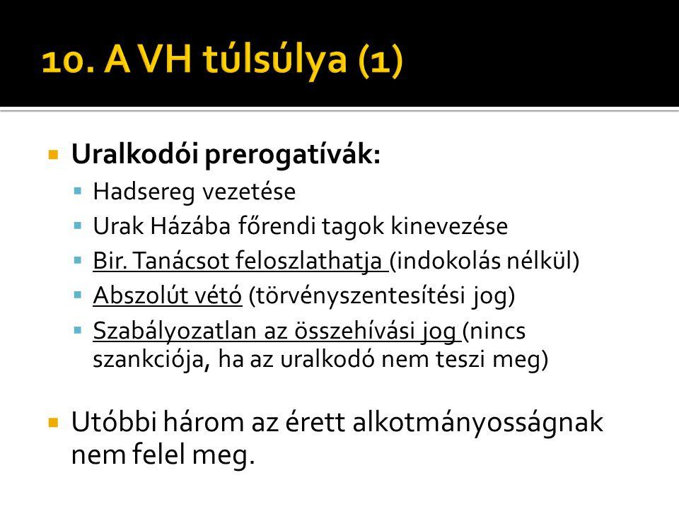 10. A VH túlsúlya (1) Uralkodói prerogatívák: