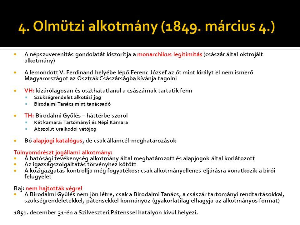 4. Olmützi alkotmány (1849. március 4.)