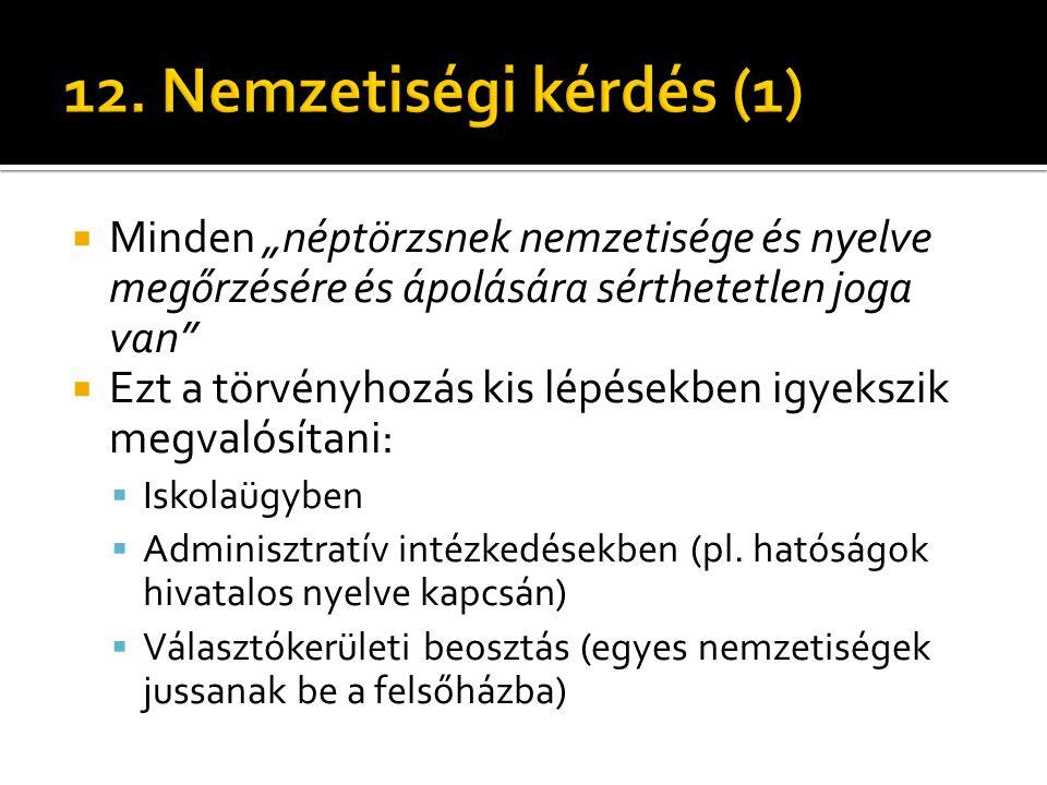 """12. Nemzetiségi kérdés (1) Minden """"néptörzsnek nemzetisége és nyelve megőrzésére és ápolására sérthetetlen joga van"""
