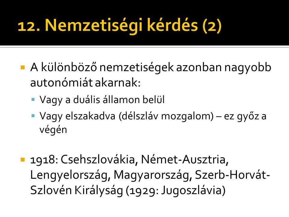 12. Nemzetiségi kérdés (2) A különböző nemzetiségek azonban nagyobb autonómiát akarnak: Vagy a duális államon belül.