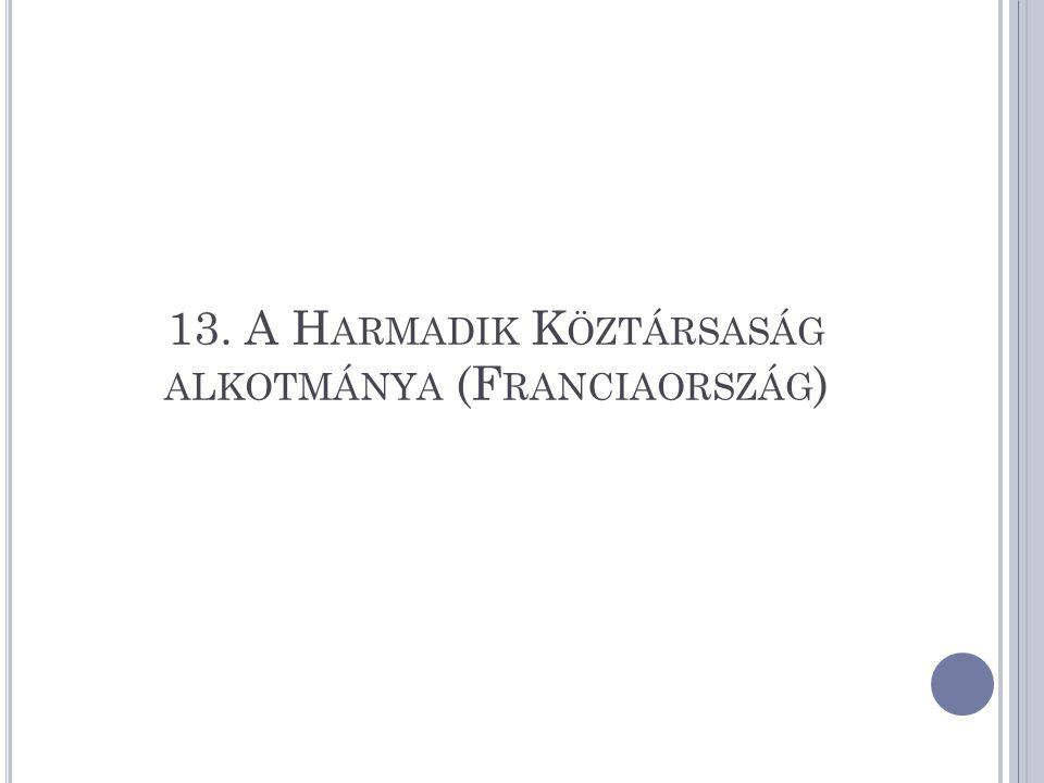 13. A Harmadik Köztársaság alkotmánya (Franciaország)