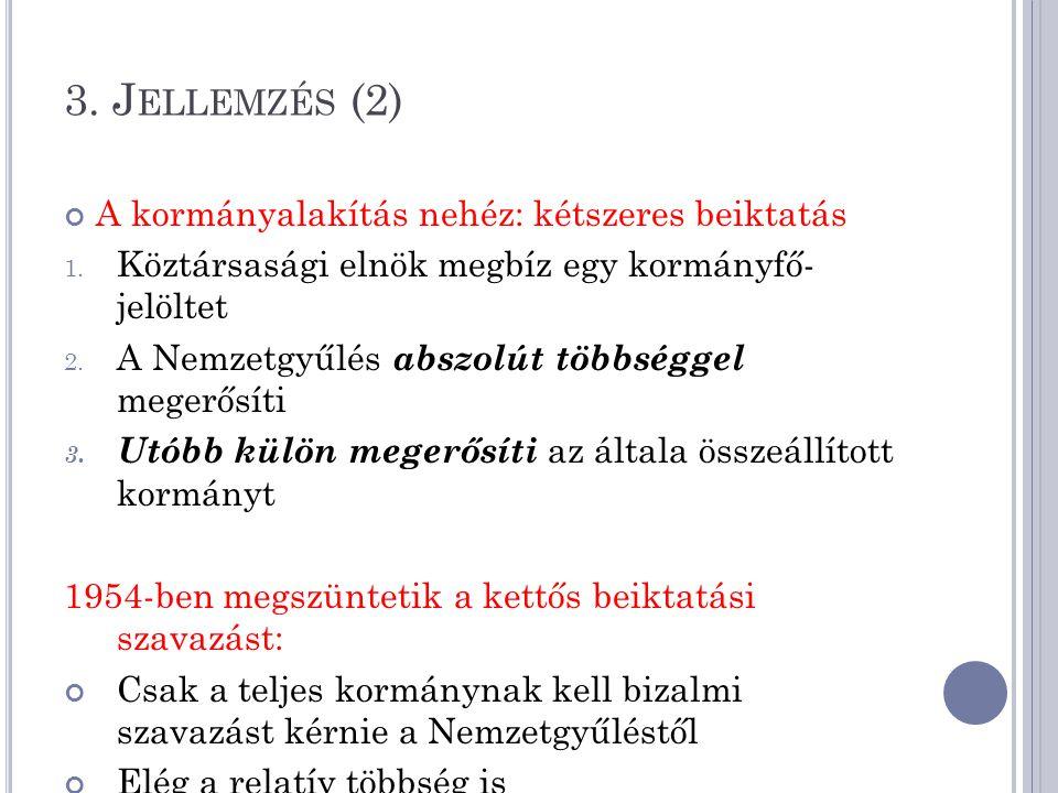 3. Jellemzés (2) A kormányalakítás nehéz: kétszeres beiktatás