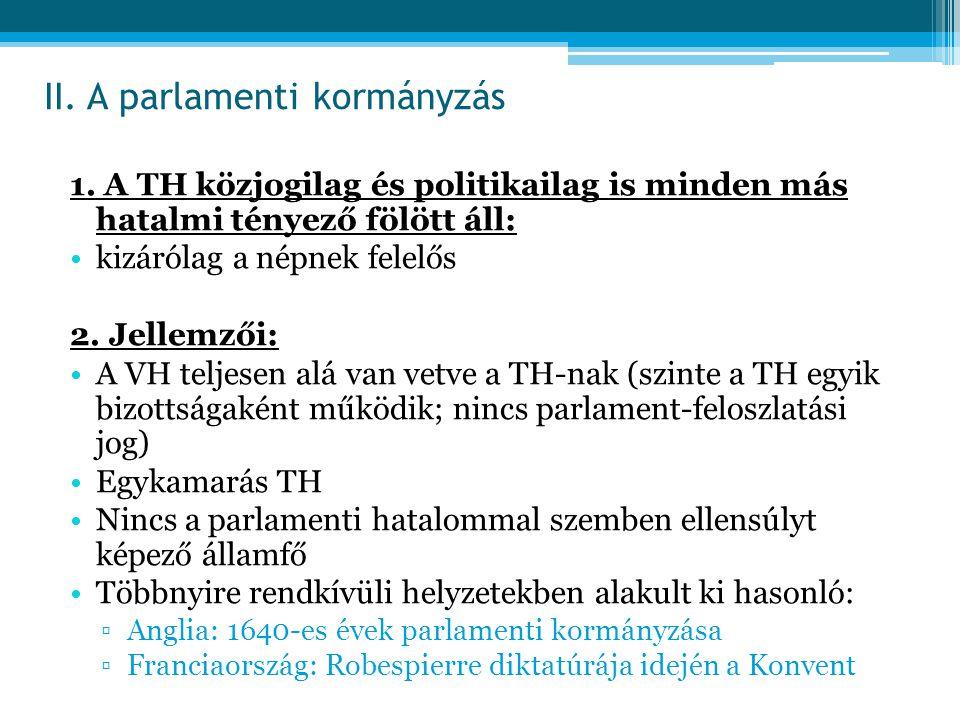 II. A parlamenti kormányzás