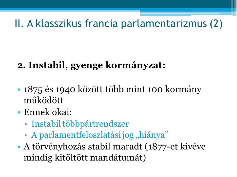 II. A klasszikus francia parlamentarizmus (2)