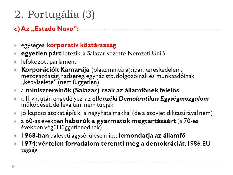 """2. Portugália (3) c) Az """"Estado Novo :"""