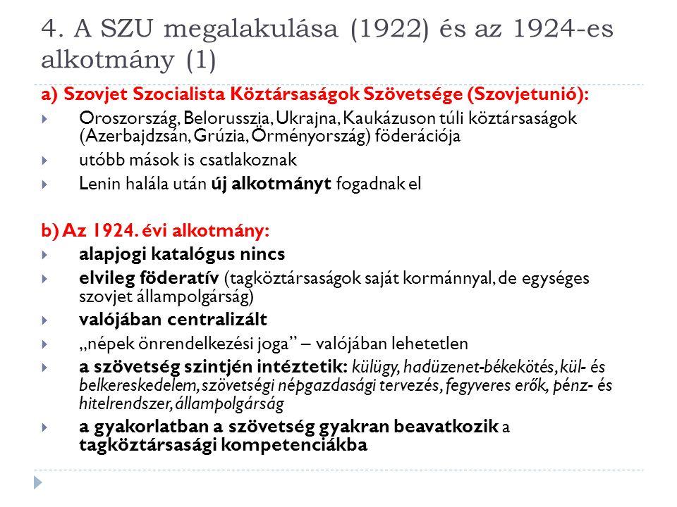 4. A SZU megalakulása (1922) és az 1924-es alkotmány (1)