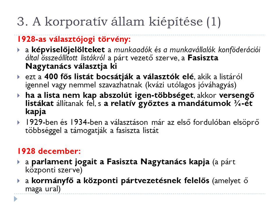 3. A korporatív állam kiépítése (1)
