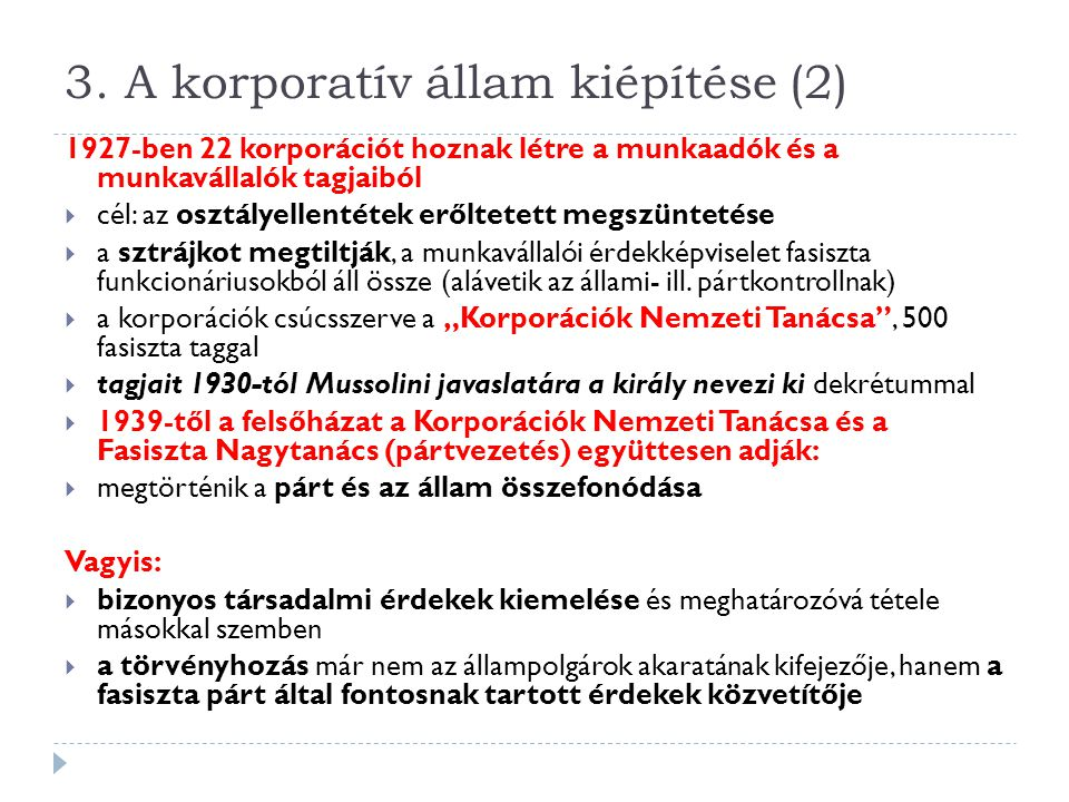 3. A korporatív állam kiépítése (2)