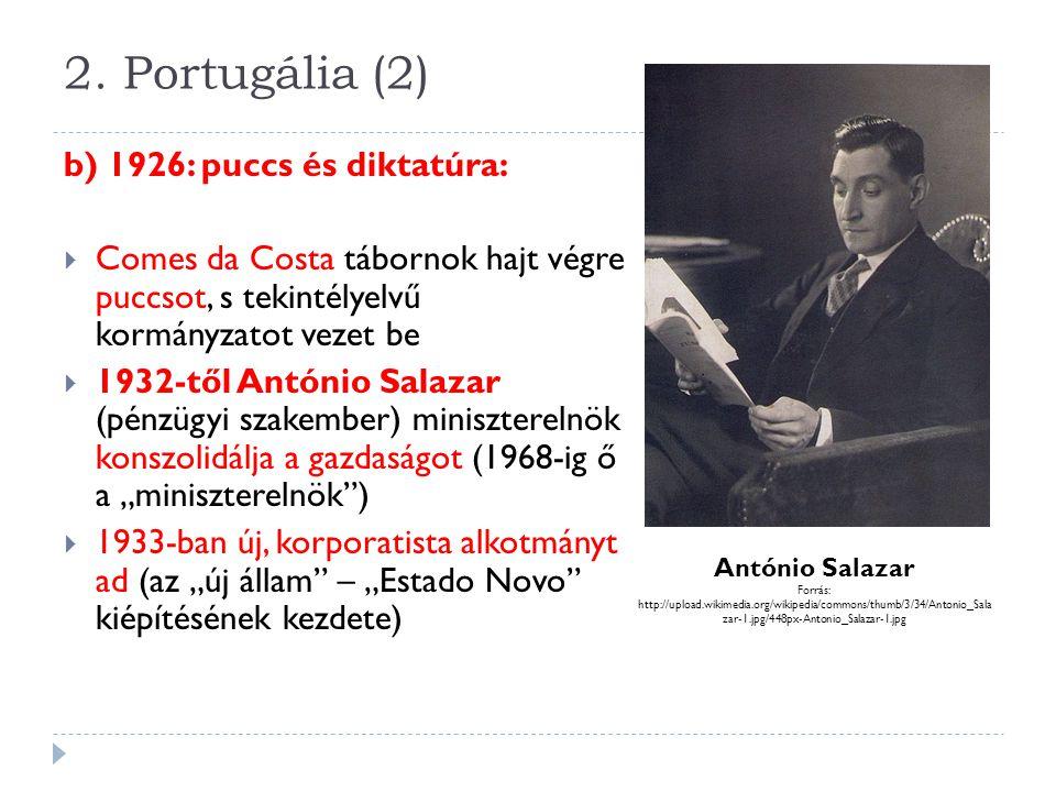 2. Portugália (2) b) 1926: puccs és diktatúra: