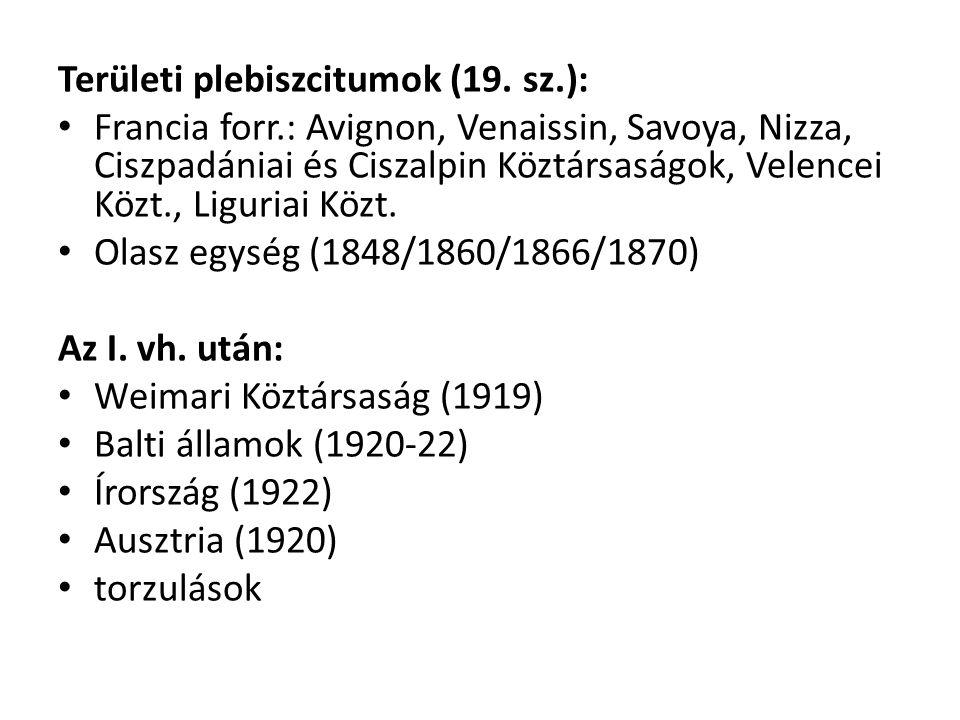 Területi plebiszcitumok (19. sz.):