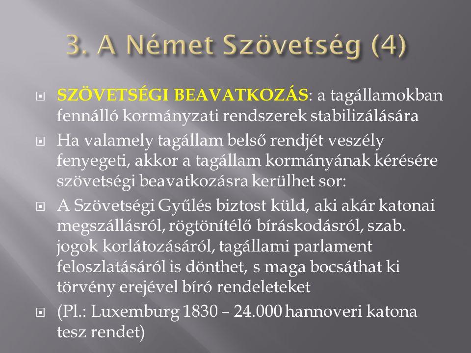 3. A Német Szövetség (4) Szövetségi beavatkozás: a tagállamokban fennálló kormányzati rendszerek stabilizálására.