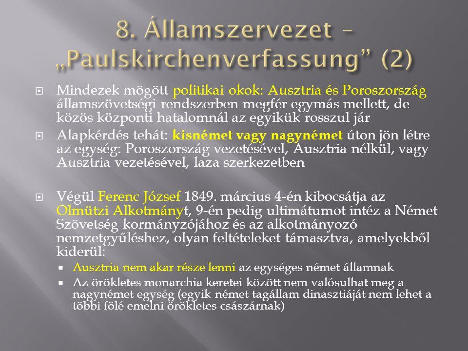 "8. Államszervezet – ""Paulskirchenverfassung (2)"