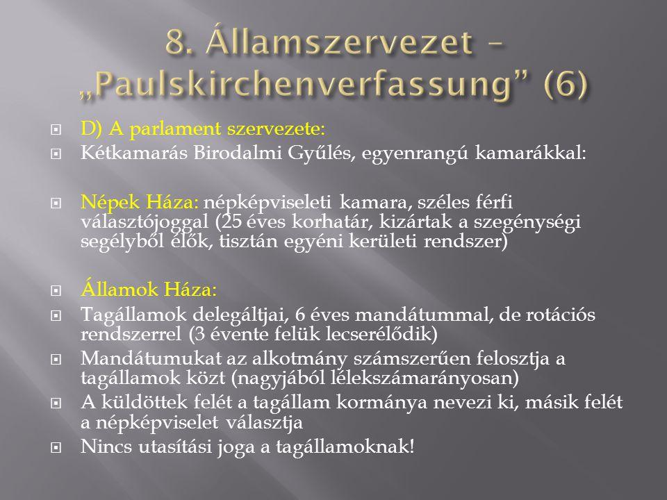 "8. Államszervezet – ""Paulskirchenverfassung (6)"