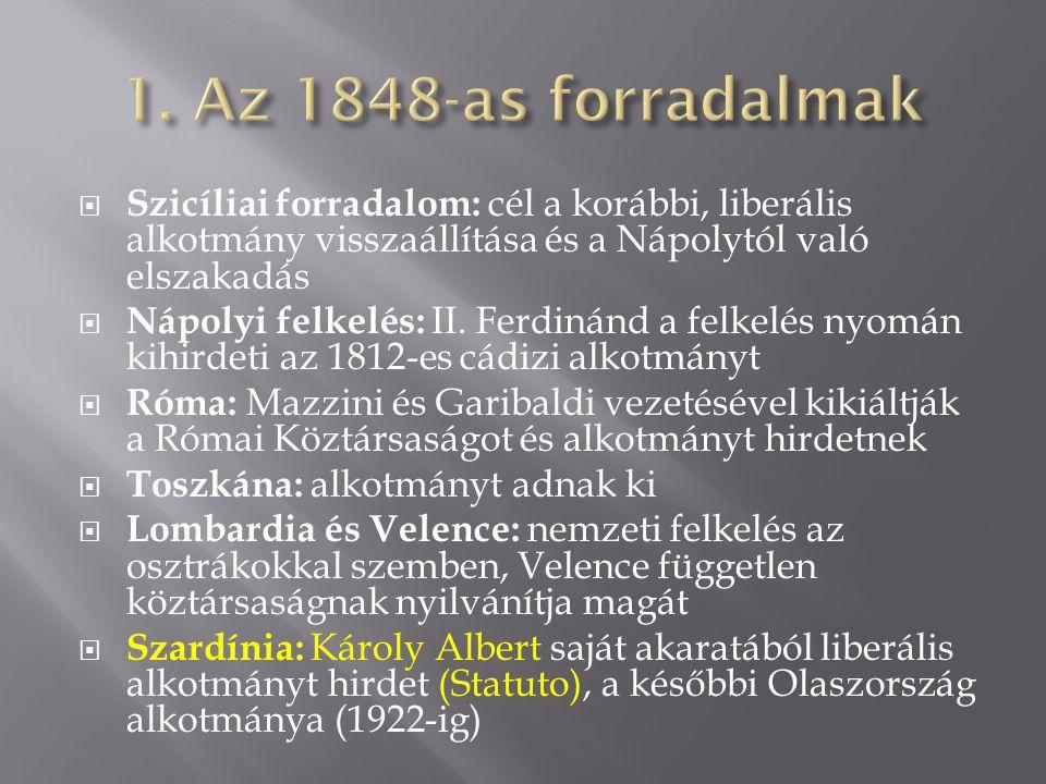 1. Az 1848-as forradalmak Szicíliai forradalom: cél a korábbi, liberális alkotmány visszaállítása és a Nápolytól való elszakadás.