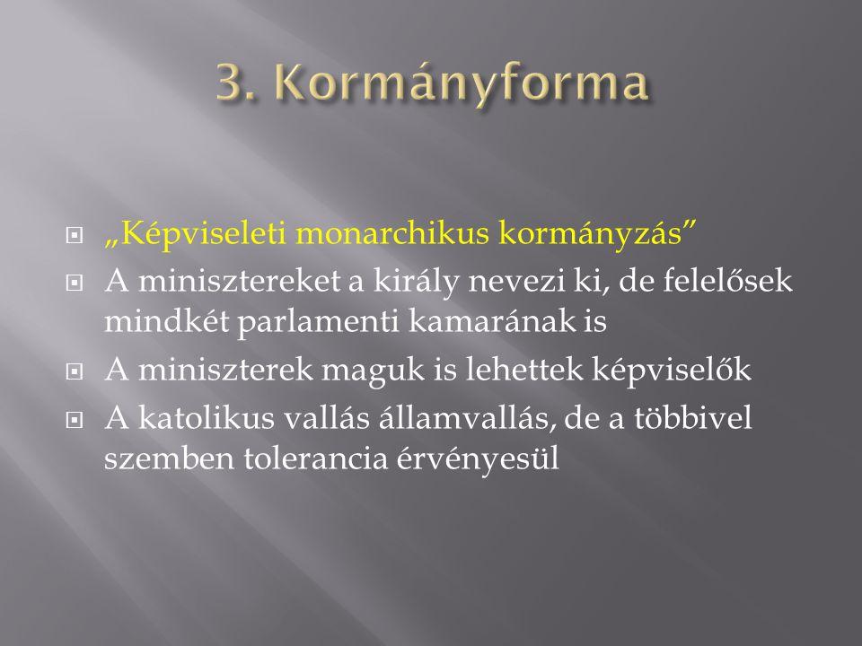 """3. Kormányforma """"Képviseleti monarchikus kormányzás"""