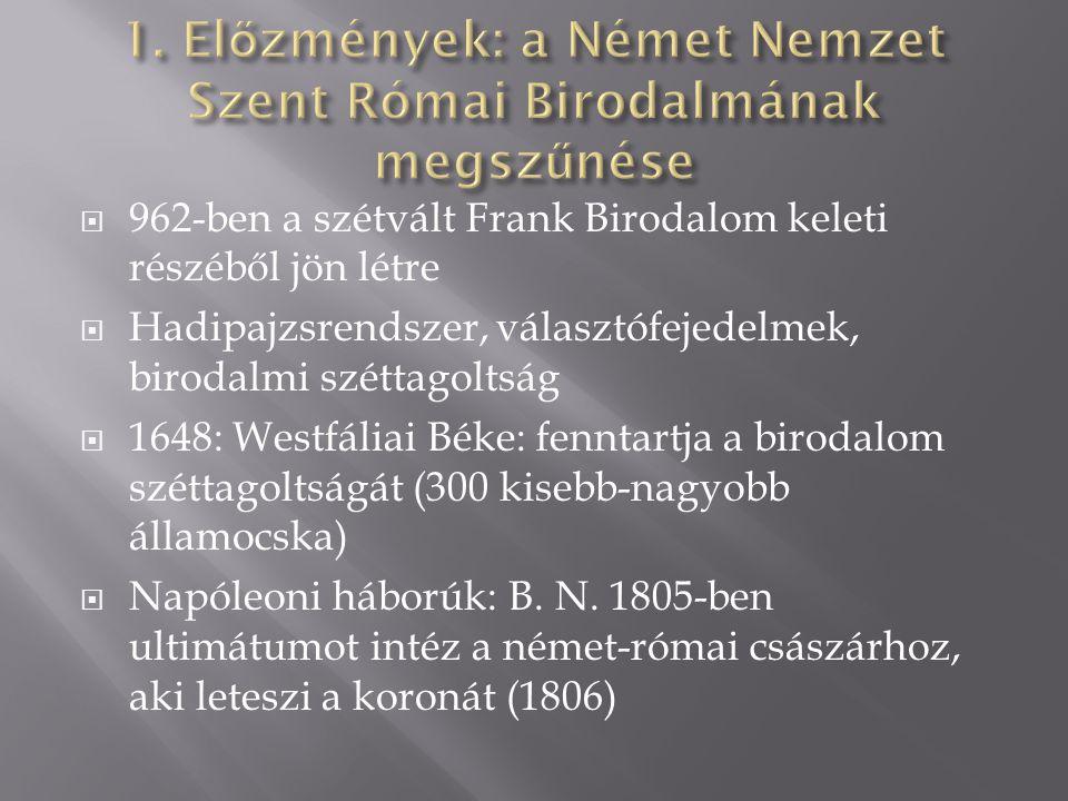 1. Előzmények: a Német Nemzet Szent Római Birodalmának megszűnése