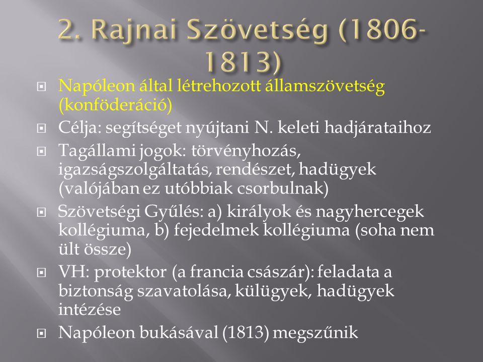 2. Rajnai Szövetség (1806-1813) Napóleon által létrehozott államszövetség (konföderáció) Célja: segítséget nyújtani N. keleti hadjárataihoz.
