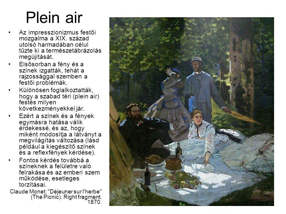 Plein air Az impresszionizmus festői mozgalma a XIX. század utolsó harmadában célul tűzte ki a természetábrázolás megújítását.