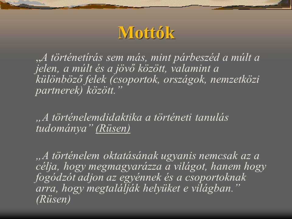 """Mottók """"A történelemdidaktika a történeti tanulás tudománya (Rüsen)"""