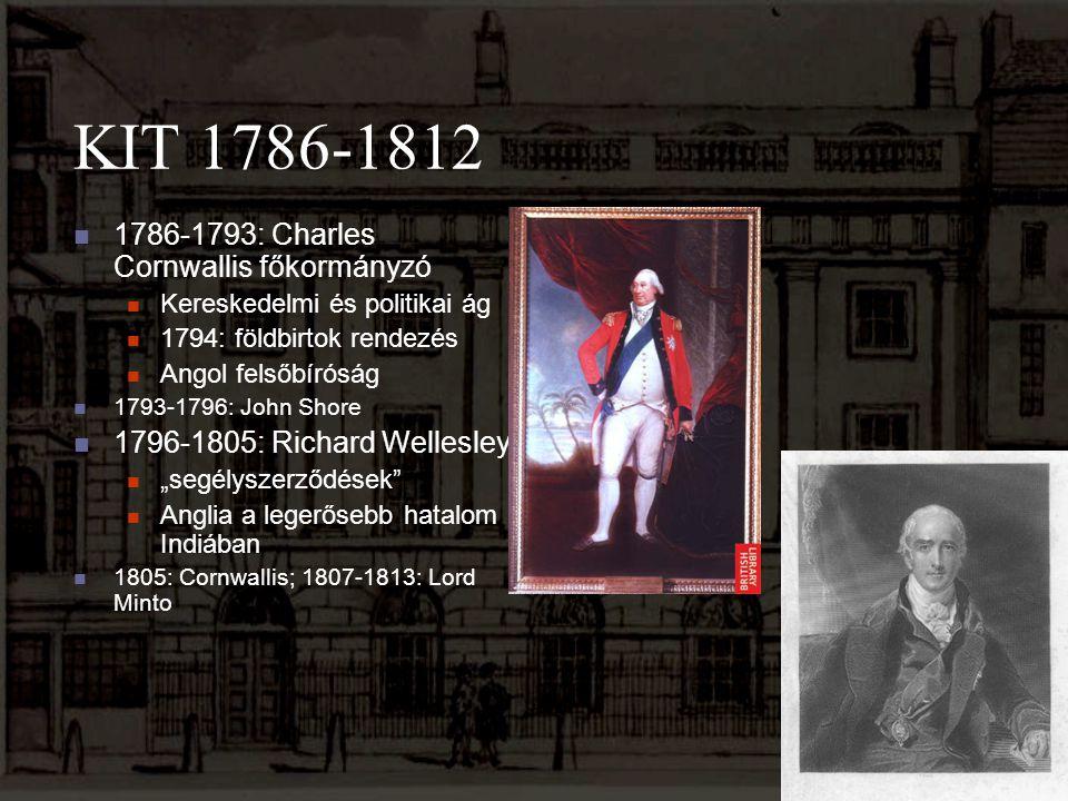 KIT 1786-1812 1786-1793: Charles Cornwallis főkormányzó